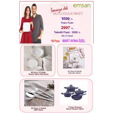 Emsan Çeyiz Seti 183 Parça Mutlu Evlilik Paketi Kare Nakit 2997 TL