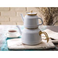 Emsan Troy Emaye Çaydanlık Takımı Beyaz-Kırmızı-Siyah NAKİT 200 TL